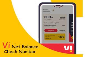 Vi Net Balance Check Number